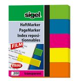 Sigel Haftmarker PET, grün, blau, pink, gelb, orange, 40 Bl./Block, 5 Block/Pack.